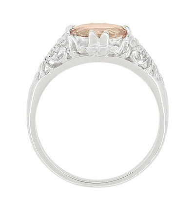 Morganite Oval East West Filigree Edwardian Engagement Ring in 14 Karat White Gold - Item: R799M - Image: 3