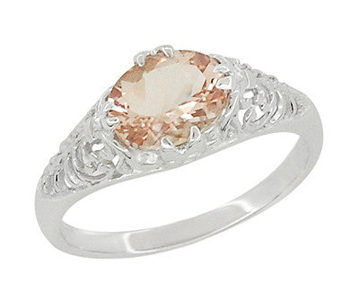 Morganite Oval East West Filigree Edwardian Engagement Ring in 14 Karat White Gold - Item: R799M - Image: 1