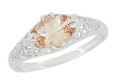 Morganite Oval East West Filigree Edwardian Engagement Ring in 14 Karat White Gold