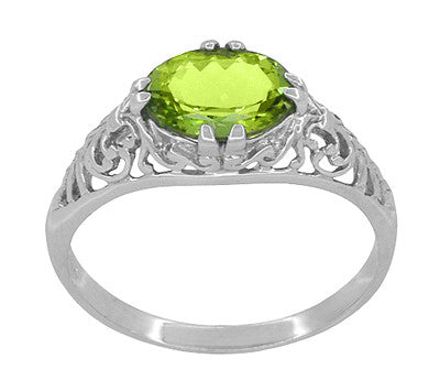 Oval Peridot Filigree Edwardian Engagement Ring in 14 Karat White Gold - Item: R799PER - Image: 2