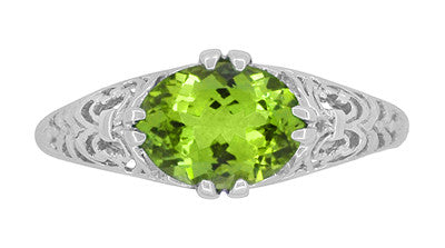 Oval Peridot Filigree Edwardian Engagement Ring in 14 Karat White Gold - Item: R799PER - Image: 4
