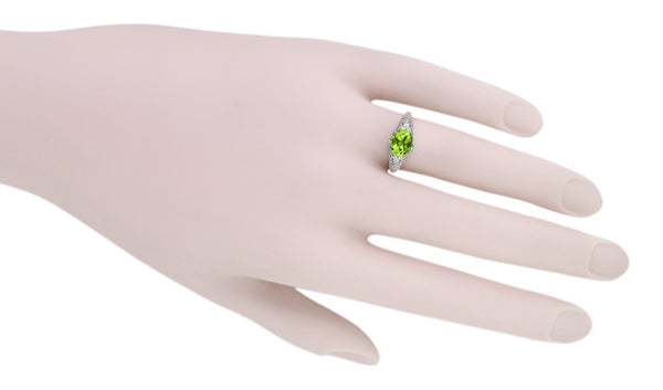 Oval Peridot Filigree Edwardian Engagement Ring in 14 Karat White Gold - Item: R799PER - Image: 5