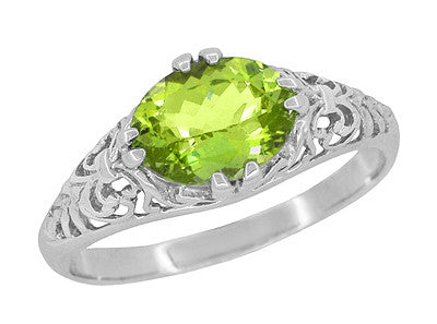 Oval Peridot Filigree Edwardian Engagement Ring in 14 Karat White Gold