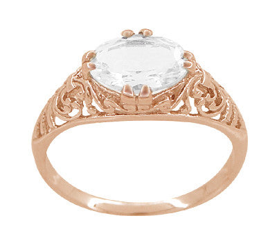 Edwardian Oval White Sapphire Filigree Engagement Ring in 14 Karat Rose Gold ( Pink Gold ) - Item: R799RWS - Image: 2