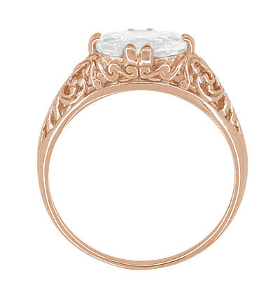 Edwardian Oval White Sapphire Filigree Engagement Ring in 14 Karat Rose Gold ( Pink Gold ) - Item: R799RWS - Image: 3