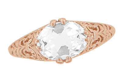 Edwardian Oval White Sapphire Filigree Engagement Ring in 14 Karat Rose Gold ( Pink Gold ) - Item: R799RWS - Image: 4