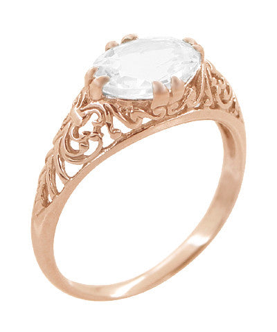 Edwardian Oval White Sapphire Filigree Engagement Ring in 14 Karat Rose Gold ( Pink Gold ) - Item: R799RWS - Image: 1