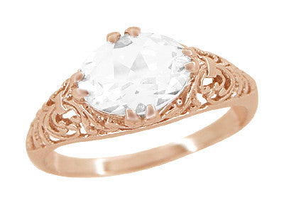 Edwardian Oval White Sapphire Filigree Engagement Ring in 14 Karat Rose Gold ( Pink Gold )