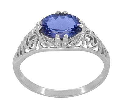 Edwardian 1.20 Carat Oval Tanzanite Filigree Ring in 14 Karat White Gold - Item: R799TA - Image: 2