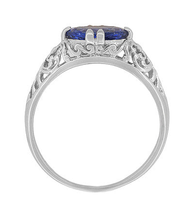 Edwardian 1.20 Carat Oval Tanzanite Filigree Ring in 14 Karat White Gold - Item: R799TA - Image: 3