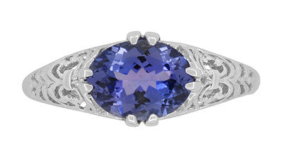 Edwardian 1.20 Carat Oval Tanzanite Filigree Ring in 14 Karat White Gold - Item: R799TA - Image: 4