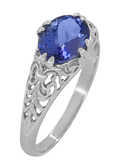 Edwardian 1.20 Carat Oval Tanzanite Filigree Ring in 14 Karat White Gold - Item: R799TA - Image: 1