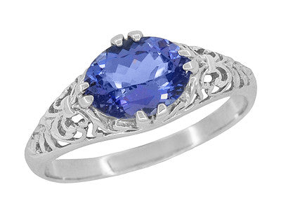 Edwardian 1.20 Carat Oval Tanzanite Filigree Ring in 14 Karat White Gold