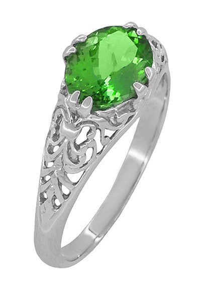 Edwardian Filigree Oval Tsavorite Garnet Engagement Ring in 14 Karat White Gold - Item: R799TS - Image: 2