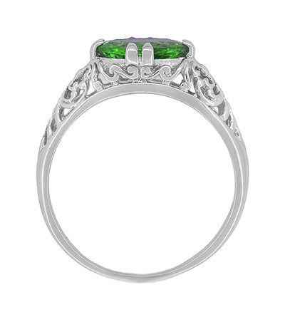 Edwardian Filigree Oval Tsavorite Garnet Engagement Ring in 14 Karat White Gold - Item: R799TS - Image: 3