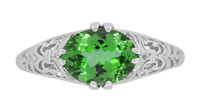 Edwardian Filigree Oval Tsavorite Garnet Engagement Ring in 14 Karat White Gold - Item: R799TS - Image: 4