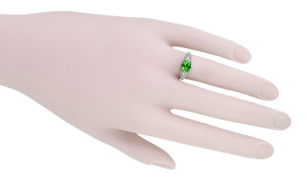 Edwardian Filigree Oval Tsavorite Garnet Engagement Ring in 14 Karat White Gold - Item: R799TS - Image: 5