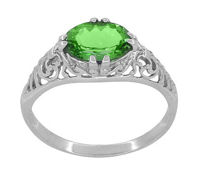 Edwardian Filigree Oval Tsavorite Garnet Engagement Ring in 14 Karat White Gold - Item: R799TS - Image: 1