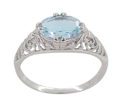Edwardian Oval Sky Blue Topaz Filigree Engagement Ring in 14 Karat White Gold - Item: R799WBT - Image: 3
