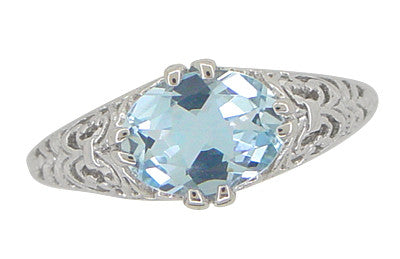 Edwardian Oval Sky Blue Topaz Filigree Engagement Ring in 14 Karat White Gold - Item: R799WBT - Image: 4
