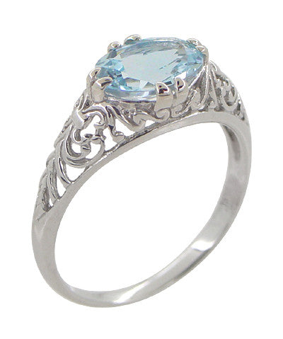 Edwardian Oval Sky Blue Topaz Filigree Engagement Ring in 14 Karat White Gold - Item: R799WBT - Image: 1