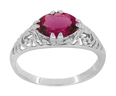 Edwardian Oval Rubellite Tourmaline Filigree East West Ring in 14 Karat White Gold - Item: R799WPT - Image: 2