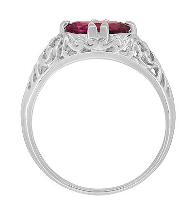 Edwardian Oval Rubellite Tourmaline Filigree East West Ring in 14 Karat White Gold - Item: R799WPT - Image: 4