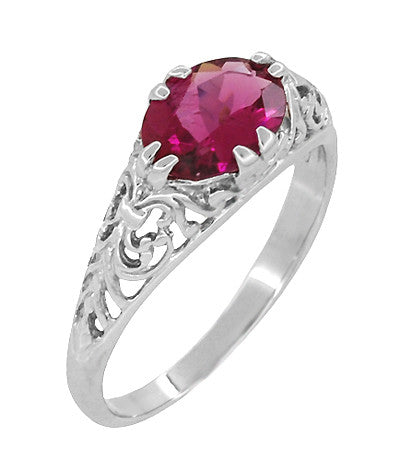 Edwardian Oval Rubellite Tourmaline Filigree East West Ring in 14 Karat White Gold - Item: R799WPT - Image: 1