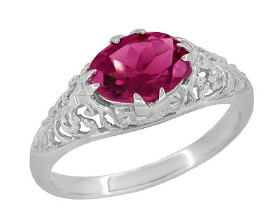 Edwardian Oval Rubellite Tourmaline Filigree East West Ring in 14 Karat White Gold