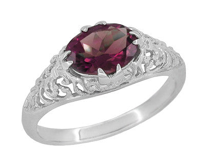 Edwardian East West Oval Rhodolite Garnet Filigree Engagement Ring in 14 Karat White Gold