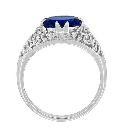 Filigree Edwardian Oval Blue Sapphire Engagement Ring in 14 Karat White Gold - Item: R799WS - Image: 2