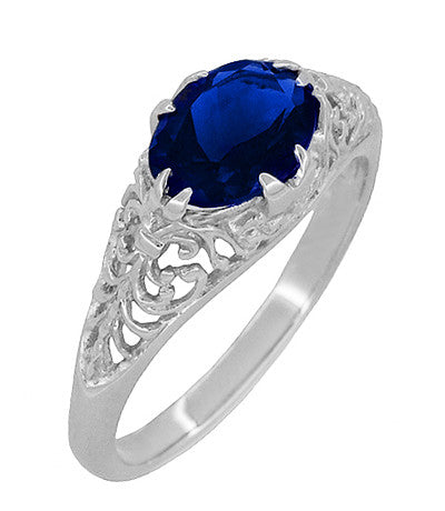 Filigree Edwardian Oval Blue Sapphire Engagement Ring in 14 Karat White Gold - Item: R799WS - Image: 1
