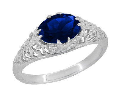 Filigree Edwardian Oval Blue Sapphire Engagement Ring in 14 Karat White Gold