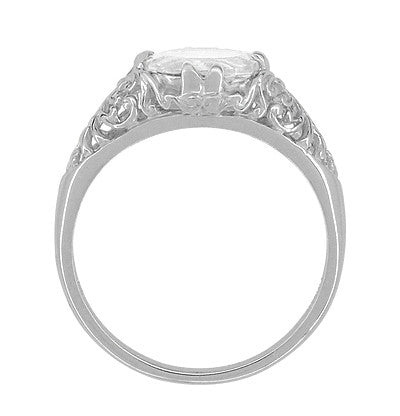 Edwardian Oval White Topaz Antique Style Filigree Engagement Ring in 14 Karat White Gold - Item: R799WWT - Image: 2