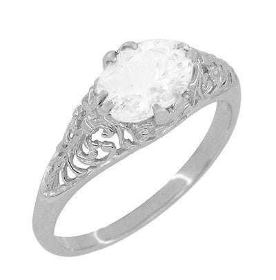 Edwardian Oval White Topaz Antique Style Filigree Engagement Ring in 14 Karat White Gold - Item: R799WWT - Image: 1