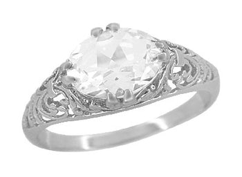 Edwardian Oval White Topaz Antique Style Filigree Engagement Ring in 14 Karat White Gold