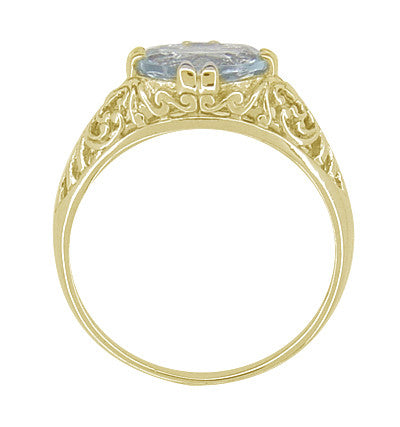 Edwardian Oval Aquamarine Filigree Ring in 14 Karat Yellow Gold - Item: R799YA - Image: 2