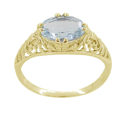 Edwardian Oval Aquamarine Filigree Ring in 14 Karat Yellow Gold - Item: R799YA - Image: 3
