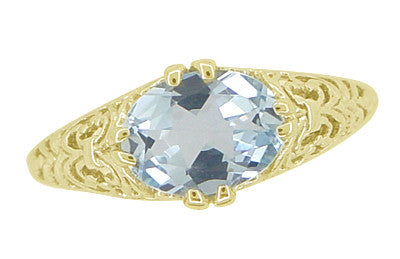 Edwardian Oval Aquamarine Filigree Ring in 14 Karat Yellow Gold - Item: R799YA - Image: 4