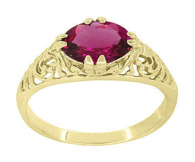 Edwardian Oval Rubellite Tourmaline Filigree Engagement Ring in 14 Karat Yellow Gold - October Birthstone - Item: R799YPT - Image: 2