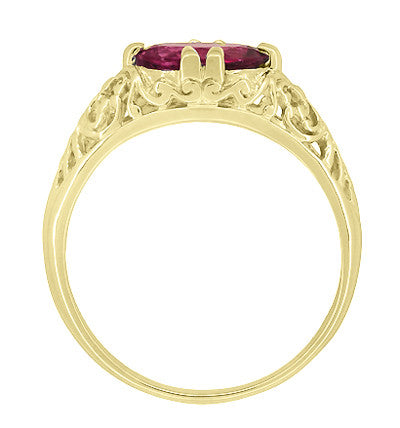 Edwardian Oval Rubellite Tourmaline Filigree Engagement Ring in 14 Karat Yellow Gold - October Birthstone - Item: R799YPT - Image: 4