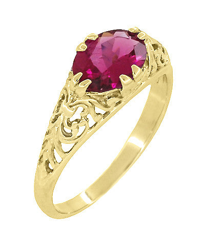 Edwardian Oval Rubellite Tourmaline Filigree Engagement Ring in 14 Karat Yellow Gold - October Birthstone - Item: R799YPT - Image: 1