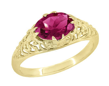 Edwardian Oval Rubellite Tourmaline Filigree Engagement Ring in 14 Karat Yellow Gold - October Birthstone