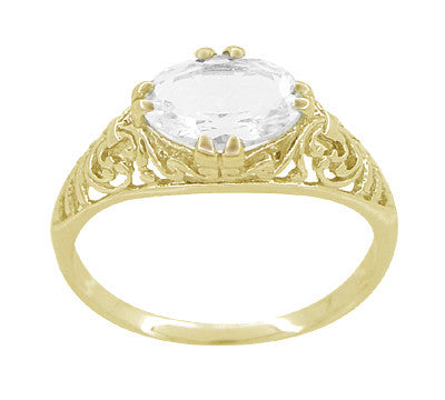 Oval White Sapphire Edwardian Filigree Engagement Ring in 14 Karat Yellow Gold - Item: R799YWS - Image: 2