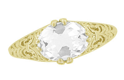 Oval White Sapphire Edwardian Filigree Engagement Ring in 14 Karat Yellow Gold - Item: R799YWS - Image: 3