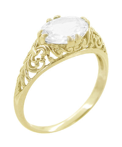 Oval White Sapphire Edwardian Filigree Engagement Ring in 14 Karat Yellow Gold - Item: R799YWS - Image: 1
