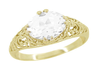 Oval White Sapphire Edwardian Filigree Engagement Ring in 14 Karat Yellow Gold