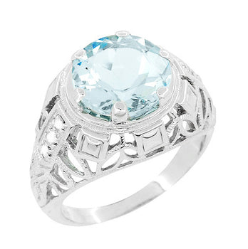 Art Deco Filigree Aquamarine and Diamonds Dome Statement Ring in 14 Karat White Gold
