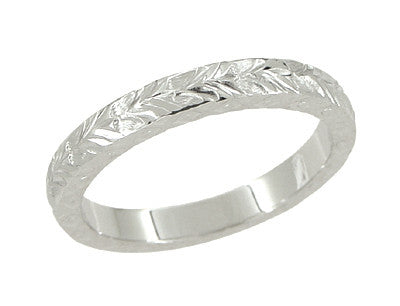 X and O Kisses Wheat Wedding Band in 14 Karat White Gold - Item: R802 - Image: 1