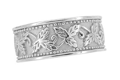 Grapes and Grape Leaves Heavy Wide Wedding Band in 14K White Gold - 8mm Wide - Item: R806 - Image: 2